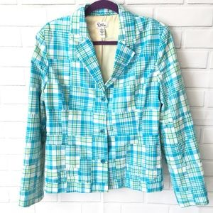 Lilly Pulitzer turquoise madras plaid blazer